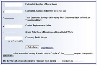 Transitional Duty Cost Calculator